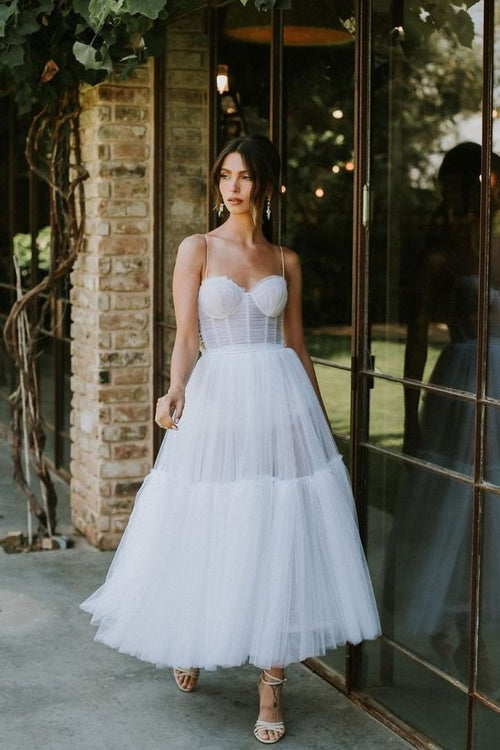 spaghetti-straps-midi-length-wedding-dress-tulle-skirt