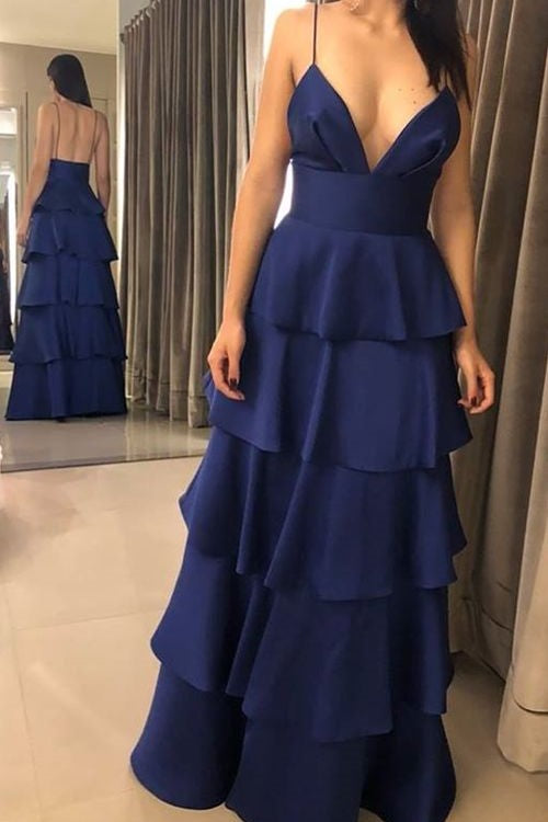 spaghetti-straps-navy-blue-long-prom-dresses-with-tiered-skirt