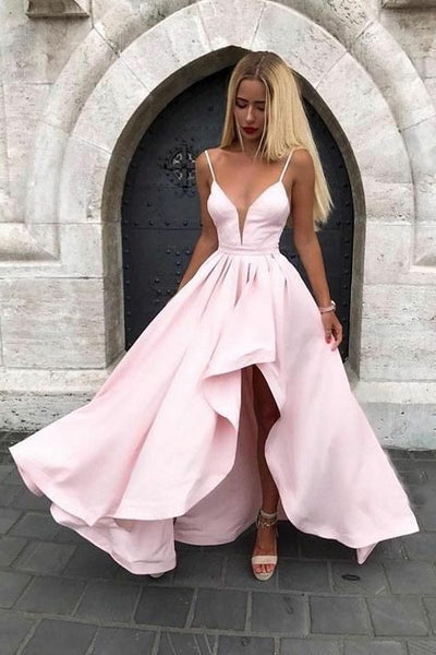 spaghetti-straps-pink-prom-gown-with-irregular-skirt
