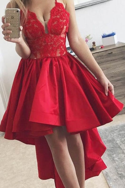 spaghetti-straps-red-hi-lo-prom-dress-with-lace-bodice