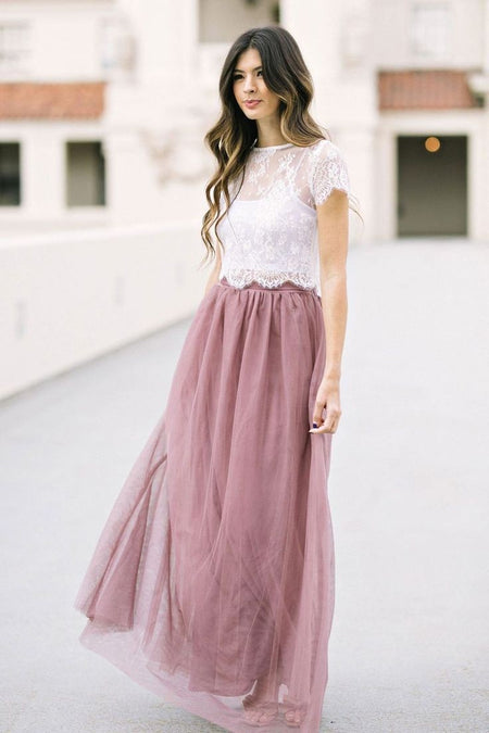 Lace Cap Sleeves Wedding Dress with Champagne Skirt