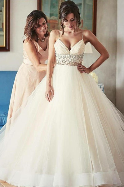 aab235c24af Spaghetti Straps Tulle Wedding Gowns Dress with Rhinestones Band –  loveangeldress