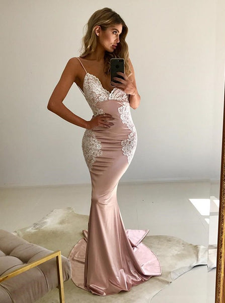 f710fa561d8 Spaghetti Straps V-neck Slim Long Prom Dress with Lace Appliques –  loveangeldress