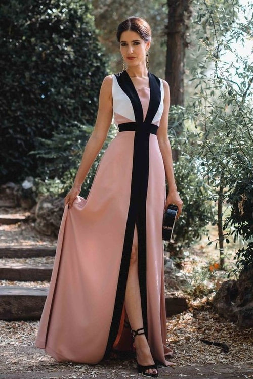 spandex-contrast-color-prom-evening-gown-with-slit-front