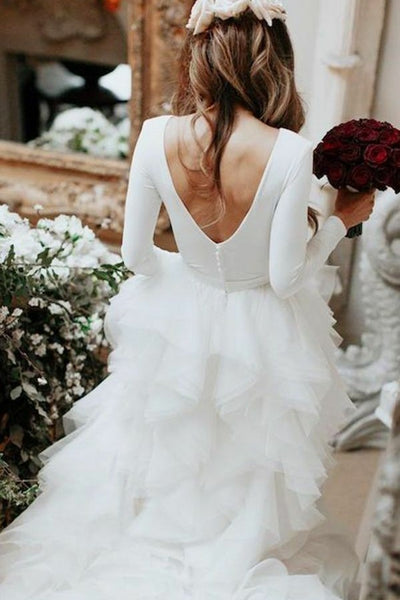 spandex-long-sleeves-wedding-dresses-with-tiered-tulle-skirt-1