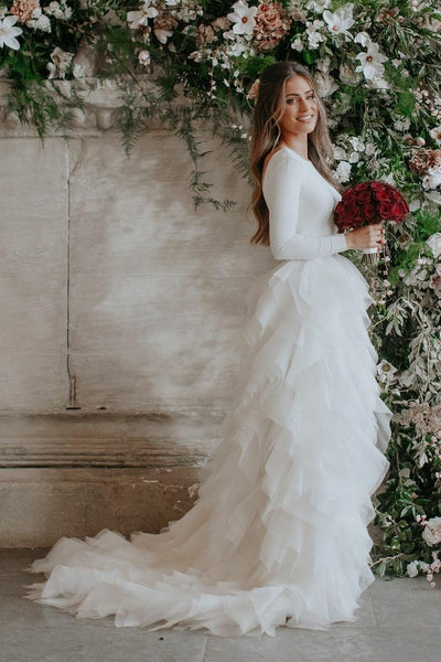 spandex-long-sleeves-wedding-dresses-with-tiered-tulle-skirt