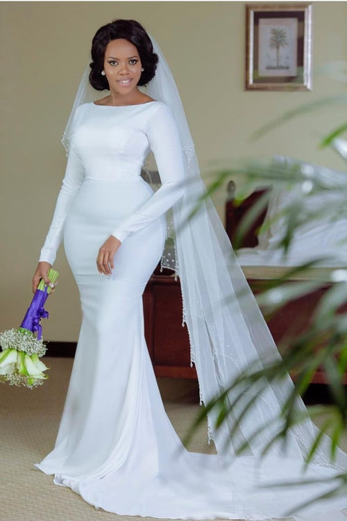 spandex-white-mermaid-wedding-gowns-long-sleeves