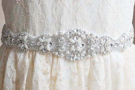 Freshwater Pearl Crystal and Stones Bridal Belt Wedding Accessories