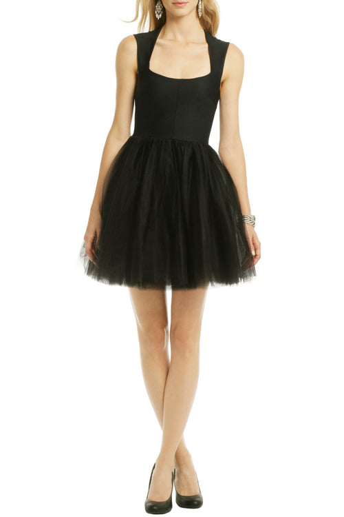 square-neck-black-short-homecoming-party-dress-with-tulle-skirt