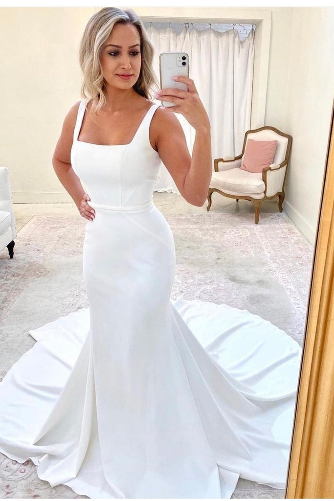 Square Neck Mermaid Wedding Gown With Long Train Loveangeldress