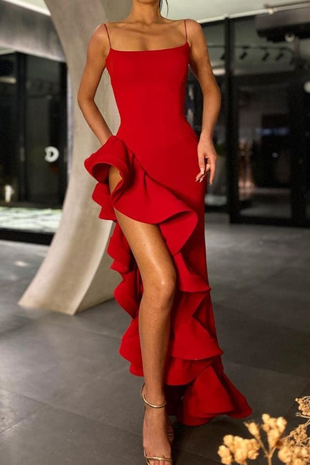 Red Mermaid Evening Gown with Flounced One-shoulder