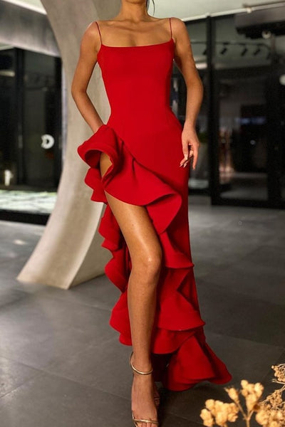 square-neck-red-prom-gown-with-flounced-oblique-hem