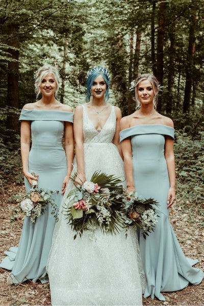Straight Off-the-shoulder Bridesmaid Long Wedding Party Dress