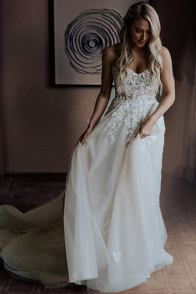 strapless-a-line-wedding-dress-with-appliques-bodice