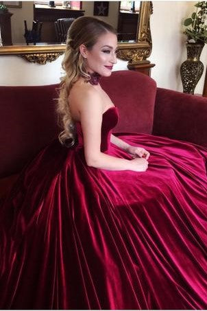 strapless-burgundy-velvet-evening-ball-gown-chapel-train-2