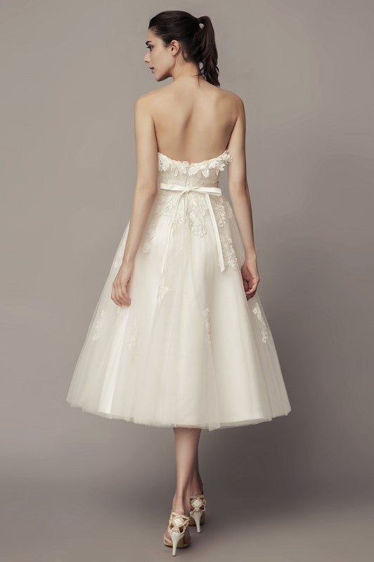 strapless-causal-tea-length-wedding-dress-with-tulle-skirt-1