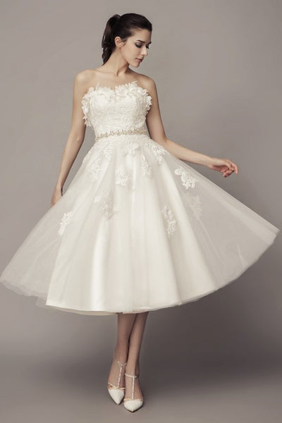 strapless-causal-tea-length-wedding-dress-with-tulle-skirt