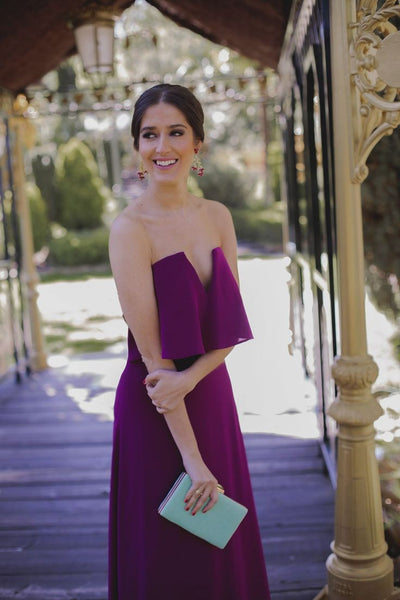 Strapless Chiffon Purple Bridesmaid Dress Floor Length