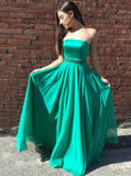 strapless-floor-length-chiffon-green-prom-long-dresses-with-bead-belt-1