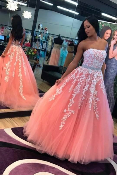 strapless-floral-lace-coral-prom-dresses-with-stones-belt