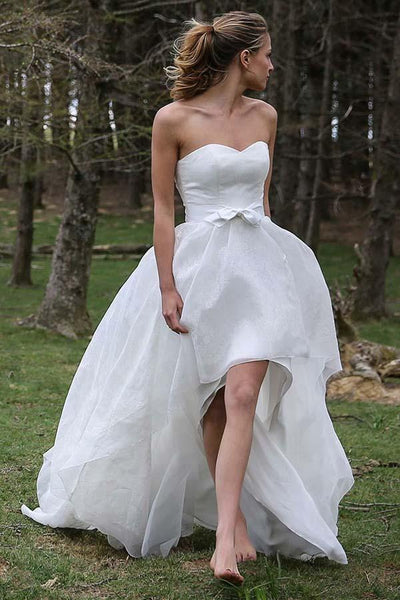 strapless-hi-lo-organza-wedding-dress-with-bow-sash