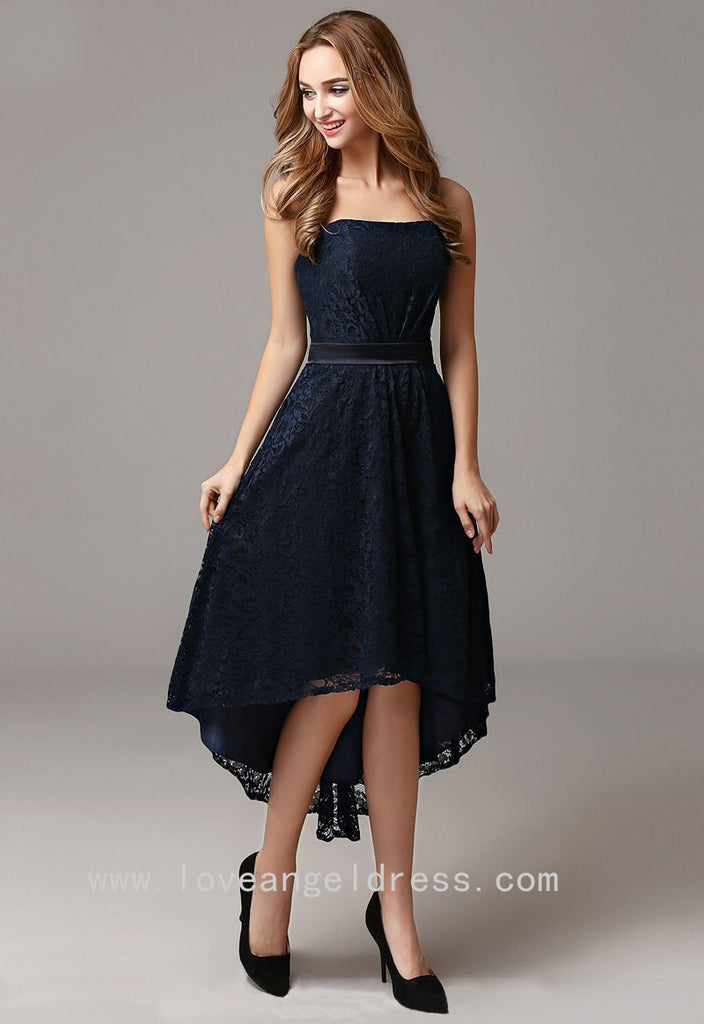 Strapless Lace Dark Navy High Low Prom Gown Dress Backless ...