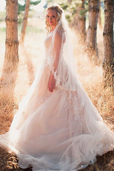 strapless-lace-outdoor-wedding-gowns-tulle-skirt