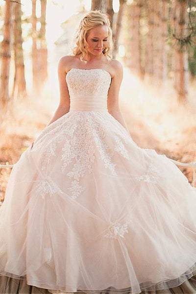 strapless-lace-outdoor-wedding-gowns-tulle-skirt-2