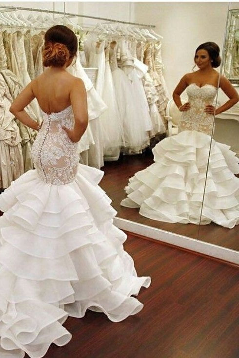 strapless-lace-wedding-gowns-with-mermaid-layers-skirt-1