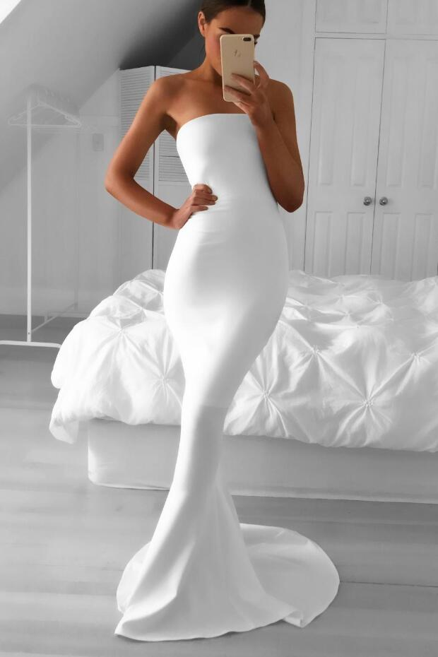Strapless Mermaid Simple White Prom Dress with Sweep Train ...