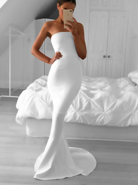 strapless-mermaid-simple-white-prom-dress-with-sweep-train