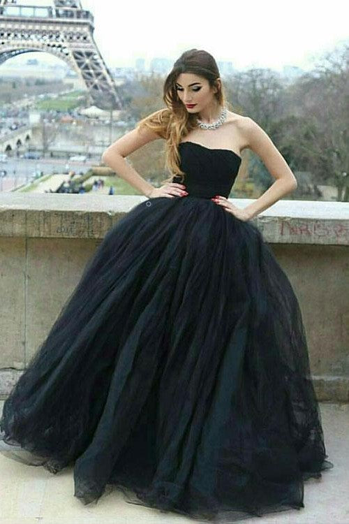 Strapless Open Back Black Prom Ball Gown Dresses with Tulle Skirt ...