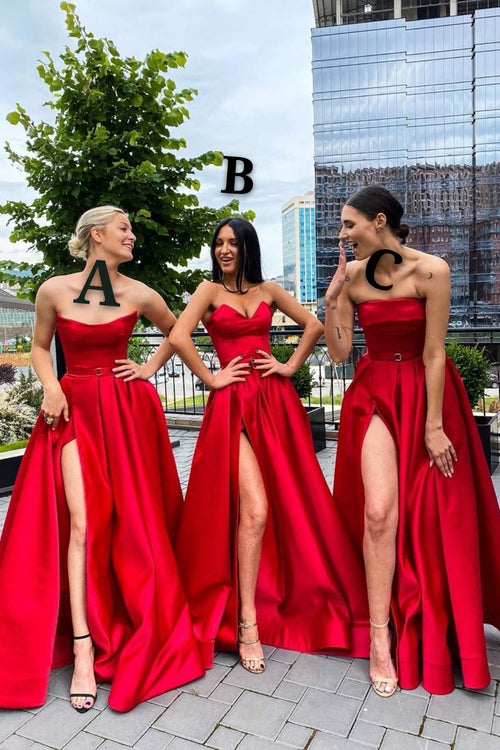 Strapless Red Satin Prom Gowns with Long Leg Slit