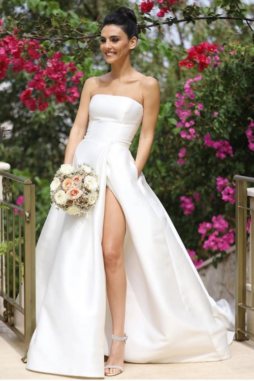 strapless-satin-a-line-wedding-dress-with-tulle-shawl