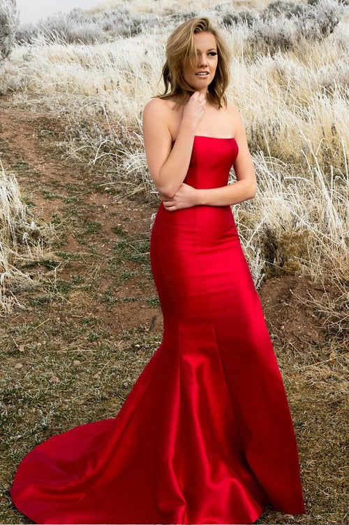 86529c62e3 strapless-satin-backless-red-prom-dresses-mermaid-style