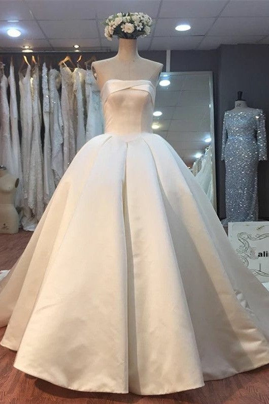 Strapless Satin Corset Backless Wedding Dresses With Cathedral Train