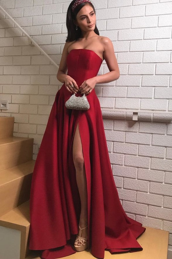 strapless-satin-dark-red-prom-dresses-with-slit-side-1