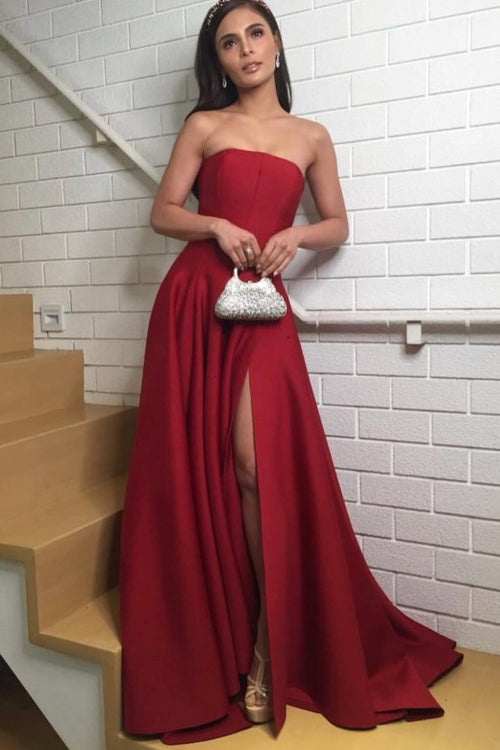 strapless-satin-dark-red-prom-dresses-with-slit-side