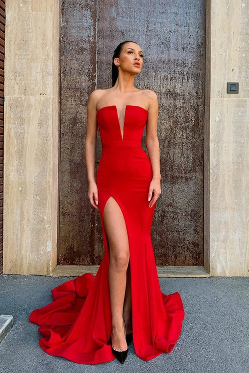 Strapless Satin Red Prom Dress with High Thigh Slit