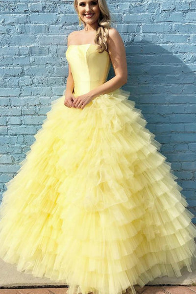 strapless-satin-yellow-prom-ball-gown-dress-with-tulle-tiered-skirt