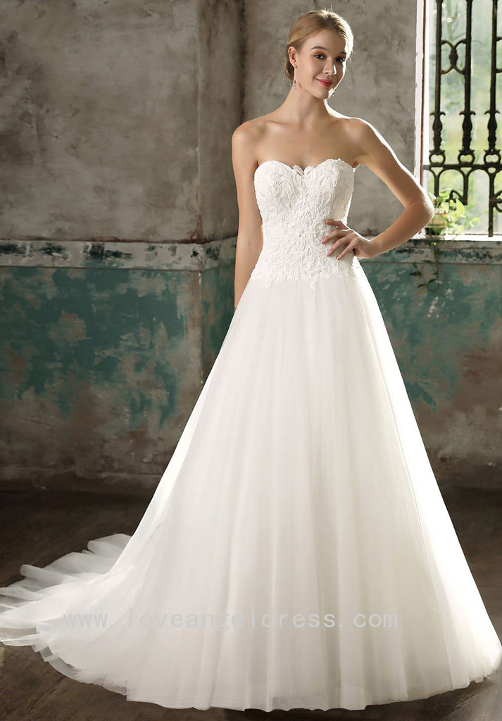Strapless Sweetheart Lace A Line Bridal Dresses With Tulle Skirt