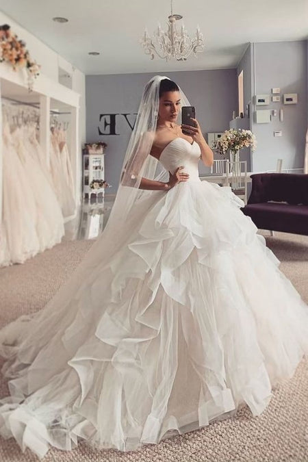 Sweetheart Tulle Bride Ball Gown Dresses with Lace Bodice