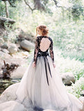 stylish-lace-appliqued-tulle-black-wedding-gown-with-sleeves-1