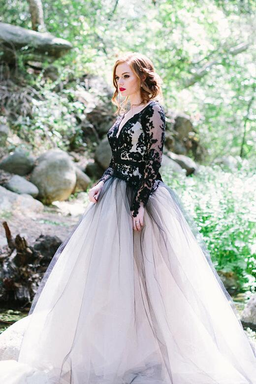 71d93d764d60 Stylish Lace Appliqued Tulle Black Wedding Gown with Sleeves ...