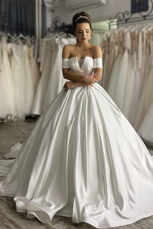 stylish-off-the-shoulder-sleeves-wedding-gown-with-satin-long-train