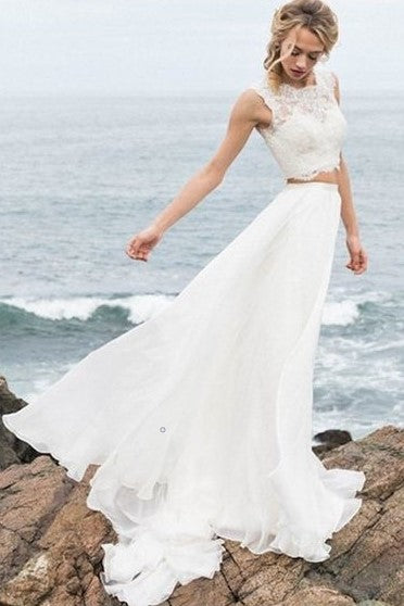 summer-two-piece-wedding-dress-with-lace-separates-top