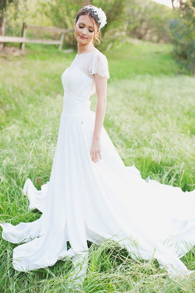 sweet-lace-chiffon-wedding-dresses-with-sleeves