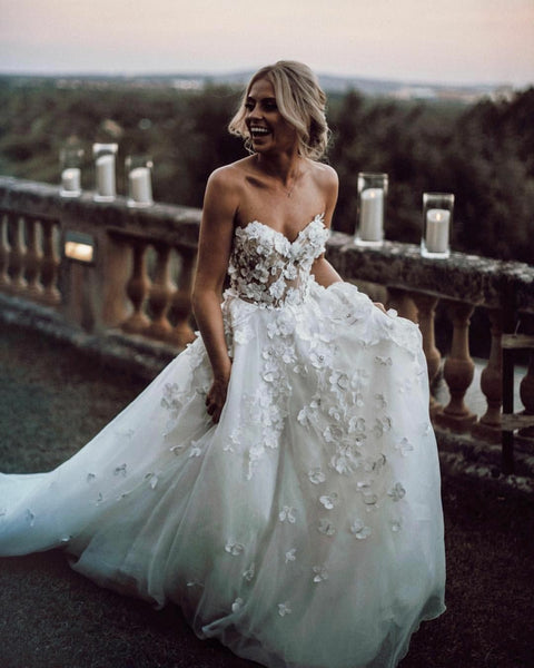 Sweetheart 3D Floral Wedding Dress Gown