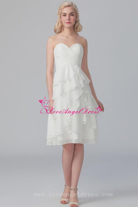 A-line Strapless Empire Waist Summer Wedding Guests Dresses for Bridesmaid