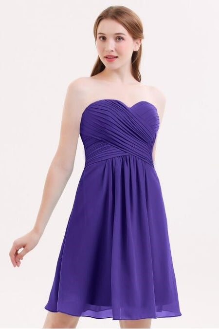 Pleated Chiffon Halter Royal Blue Wedding Party Dress Short